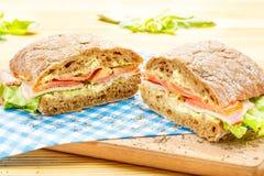 Big Ciabatta Sandwich with Bacon, Lettuce, Tomato, Cheese Stock Photos