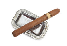 Big cigar in ashtray Royalty Free Stock Photos