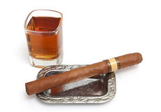 Big cigar and cognac Royalty Free Stock Image