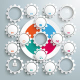 Big Circle Colored Infographic Big Machine Gear. Infographic with gears and white ring on the grey background Stock Photo