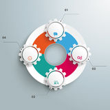 Big Circle Colored Infographic 4 Gears. Infographic with gears and white ring on the grey background Royalty Free Stock Photography