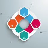 Big Circle Colored Infographic 4 Hexagons. Infographic with hexagons and rhombus on the grey background Royalty Free Stock Photo