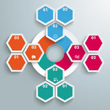 Big Circle Colored Infographic Honeycomb Flowchart. Infographic with hexagons and rhombus on the grey background Stock Photo