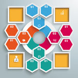 Big Circle Colored Infographic Honeycomb 4 Squares. Infographic with hexagons and rhombus on the grey background. Eps 10 vector file vector illustration