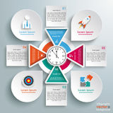 Big Circle Infographic 4 Triangles Clock Squares Drops. Infographic with circles, clock, squares and tirangles on the gray background stock illustration