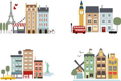 Big Cities Simple Buildings With Landmarks Royalty Free Stock Photo