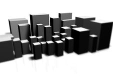 Big City. Illustration and 3D-Rendering of an abstract city Royalty Free Stock Image