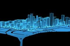 Big City (3D xray blue). Big City (3D xray blue transparent Royalty Free Stock Photo