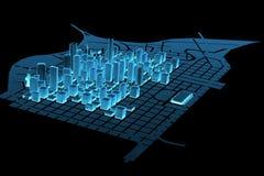 Big City (3D xray blue). Big City (3D xray blue transparent Stock Image