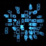 Big City (3D xray blue). Big City (3D xray blue transparent Royalty Free Stock Image