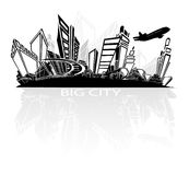 Big city. In vector with plane Royalty Free Stock Photos