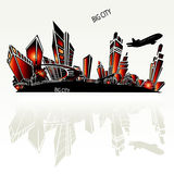 Big city. In vector with plane Stock Photos