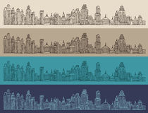 Big city, architecture, engraved illustration, hand drawn Royalty Free Stock Photos