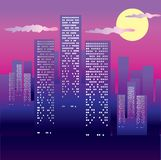 Big city background. Background with Big city in the night stock illustration