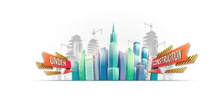 Big city buildings on the background of buildings under construction Stock Photography