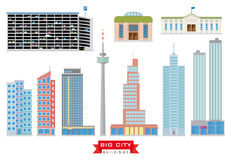 Big City Buildings Vector Set Stock Photography