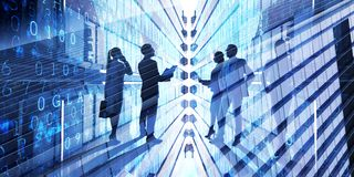 Big city business. Silhouettes of business people on modern building background royalty free stock images
