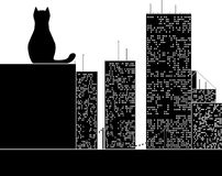 Big city cat. Stencil. vector illustration Royalty Free Stock Images