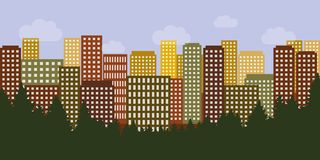 Big city with colorful houses and skyscrapers behind the forest stock illustration
