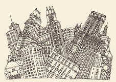 Big City Concept Architecture Engraved Vector Royalty Free Stock Photo