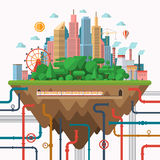 Big city concept illustration in flat style. Urban landscape with business center, park, industrial area, underground communications Stock Photo