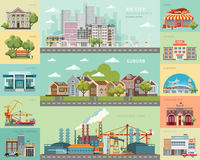 Big city concept. Infrastructure vector set with cafe, school, airport, fire station and other buildings. Big city concept. Infrastructure vector set with cafe Royalty Free Stock Photography