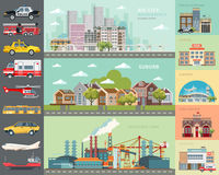 Big city concept. Set of cars. Infrastructure  set with cafe, school, airport, fire station and cityscapes. Big city concept. Infrastructure  set with city Royalty Free Stock Images
