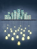 Big city creates bright ideas, night style concept Royalty Free Stock Images