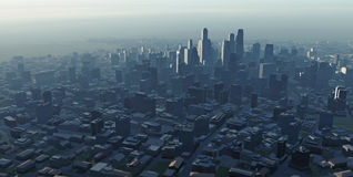 Big city at dusk. Aerial view Stock Images