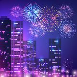 Big City Fireworks Composition. Fireworks composition of urban scenery with multistorey buildings apartment houses and fireworks on night sky vector illustration Stock Image