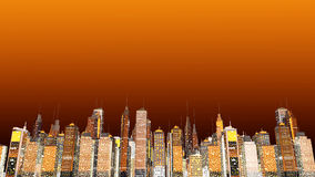 Big City. Generic urban architecture and skyscrapers forming a huge city. 3D rendered Illustration Royalty Free Stock Photography