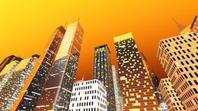 Big City. Generic urban architecture and skyscrapers forming a huge city. 3D rendered Illustration Royalty Free Stock Photo