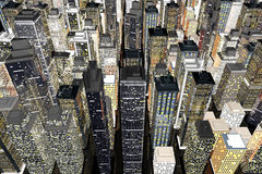 Big City. Generic urban architecture and skyscrapers forming a huge city. 3D rendered Illustration Royalty Free Stock Images
