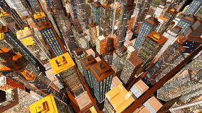 Big City. Generic urban architecture and skyscrapers forming a huge city. 3D rendered Illustration Stock Photo