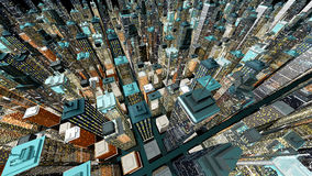 Big City. Generic urban architecture and skyscrapers forming a huge city at night. 3D rendered Illustration Royalty Free Stock Image