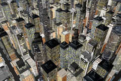 Big City. Generic urban architecture and skyscrapers forming a huge city at night. 3D rendered Illustration Stock Images