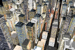 Big City. Generic urban architecture and skyscrapers forming a huge city at night. 3D rendered Illustration Royalty Free Stock Images