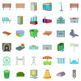 Big city icons set, cartoon style Royalty Free Stock Images