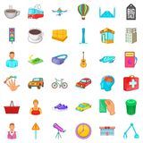 Big city icons set, cartoon style. Big city icons set. Cartoon style of 36 big city vector icons for web isolated on white background Royalty Free Stock Photo
