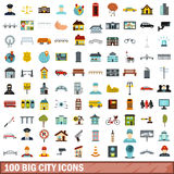 100 big city icons set, flat style Stock Photography