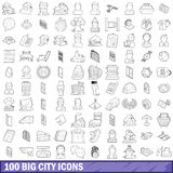 100 big city icons set, outline style Royalty Free Stock Image