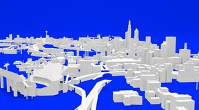 City ARCHITECTURAL buildings, illustration 3d. BIG CITY ILLUSTRATION WHERE LVE URBAN PEOPLE ALL OVER THE WORLD royalty free illustration