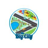 Big city isometric real estate realty cartoon logo template.  Royalty Free Stock Photos