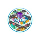Big city isometric real estate realty cartoon logo template.  Royalty Free Stock Photography