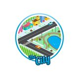 Big city isometric real estate realty cartoon logo template.  Stock Photo