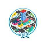 Big city isometric real estate realty cartoon logo template. Vector Stock Photography