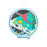 Big city isometric real estate realty cartoon logo template. Vector Stock Photo