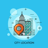 Big city landscape, business center view with location mark. GPS navigation service concept, destination point pin icon. Vector illustration in thin line style Stock Image