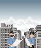 Big city landscape with cartoon young architects holding blueprint. Royalty Free Stock Photography