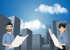 Big city landscape with cartoon young architects holding blueprint. Stock Photo